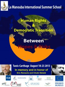 "Affiche de l'école d'été ""Human Rights and Democratic Transition"", La Manouba, 2013"