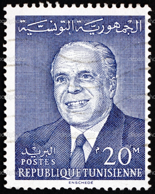 TUNISIA - CIRCA 1964: a stamp printed in Tunisia shows Habib Bourguiba, 1st President of the Republic of Tunisia, circa 1964