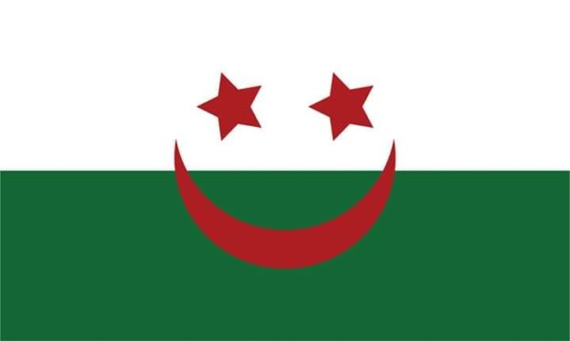 Le drapeau algérien souriant, source : https://www.facebook.com/photo.php?fbid=126985185200312&set=a.114981683067329&type=3&theater